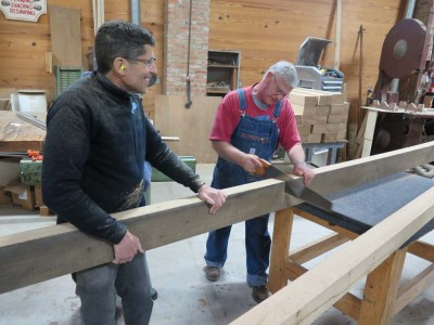 Jeff and Ted making little timbers out of bigger timbers.